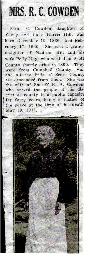 Sarah C. HILL COWDEN Obituary